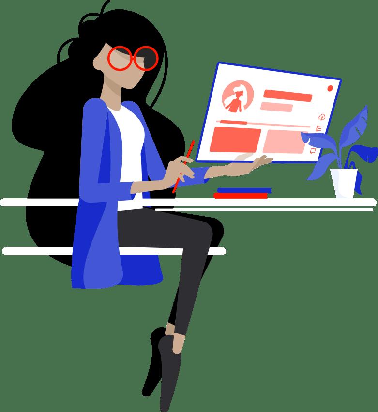 Komikom en tete de la formation wordpress cpf paris dessin jeune femme assise devant un ordinateur