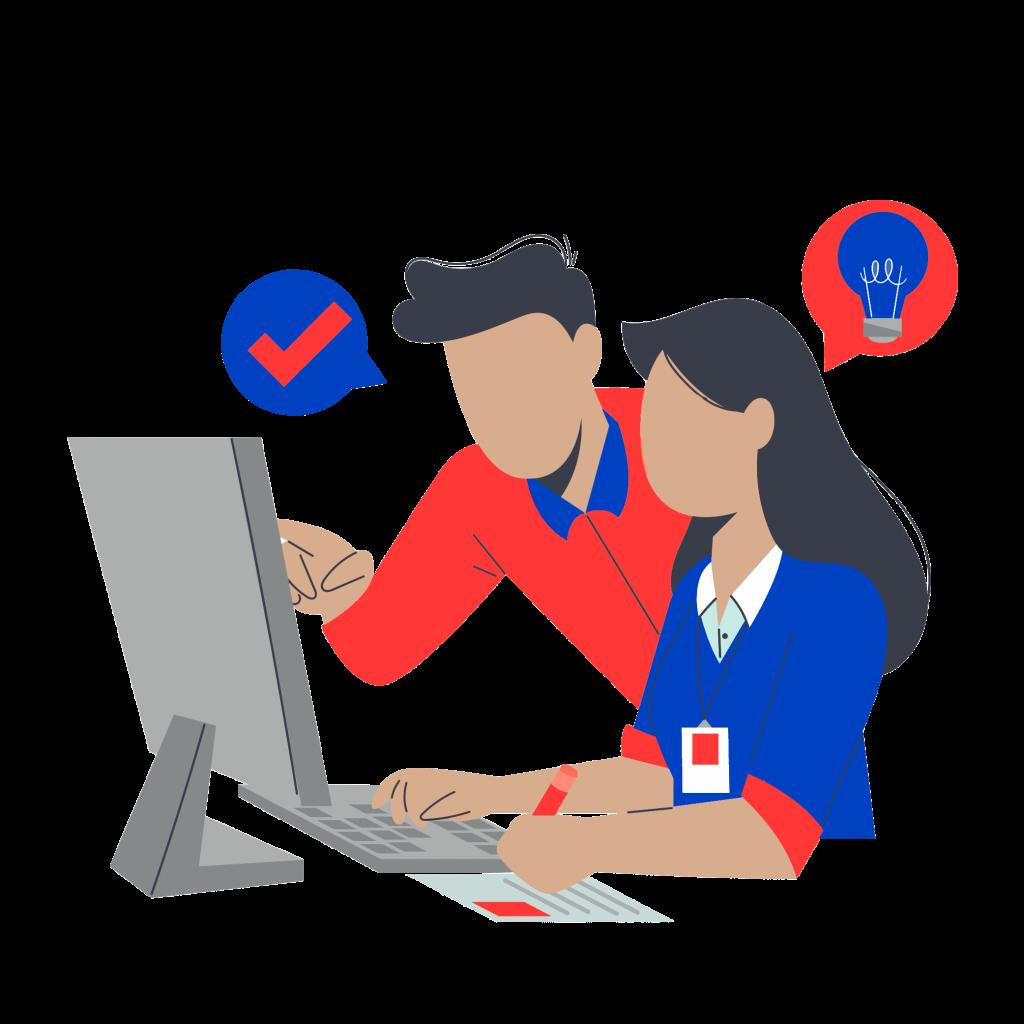 représentation de l'accompagnement individuel avec deux personnes travaillant devant un écran d'ordinateur pour la formation wordpress cpf paris